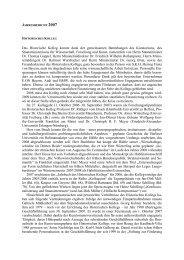 Jahresbericht des Historischen Kollegs 2007 - Historisches Kolleg