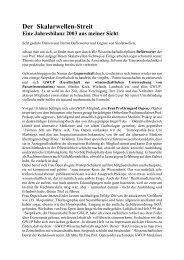 Der Skalarwellen-Streit Eine Jahresbilanz 2003 aus ... - transgallaxys