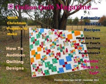 Premium Online Quilt Magazine – Vol. 3 No. 12