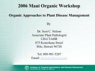 Organic Approaches to Plant Disease Management - ctahr