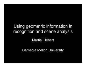 Using geometric information in recognition and scene analysis