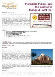 Marigold Hotel Tour Dossier 2013 - Incredible India Tours
