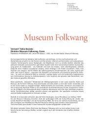 Vorwort Tobia Bezzola, Direktor Museum Folkwang