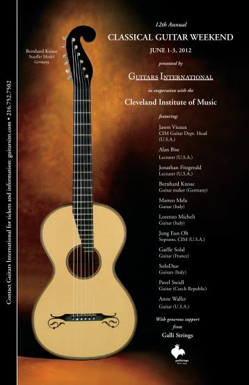Our new 2012 Classical Guitar Weekend - Guitars International