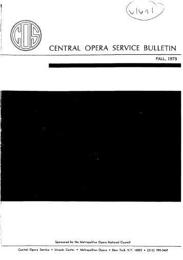 Central Opera Service Bulletin - Fall, 1973