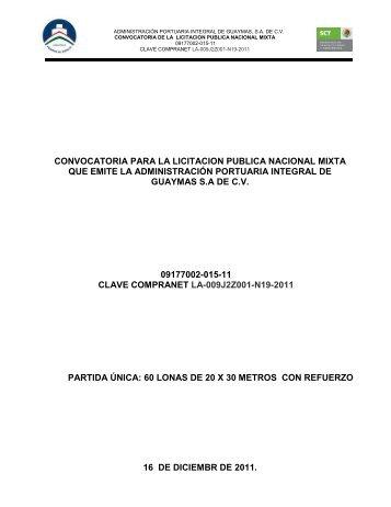 CONVOCATORIA PARA LA LICITACION PUBLICA ... - Inicio