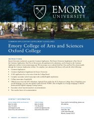 Common Application Supplement - Emory University