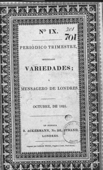 V.ARIEDADE'S; - Biblioteca Nacional de Colombia