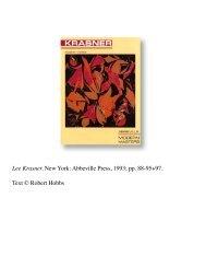 Lee Krasner. New York: Abbeville Press, 1993. - Robert Hobbs
