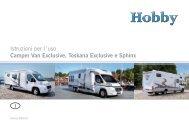Istruzioni per l´uso Camper Van Exclusive ... - Hobby Caravan
