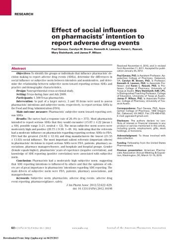 effect of social influences on pharmacists' intention to report adverse ...