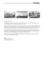 Dear Camper Owners, Congratulations on the ... - Hobby Caravan