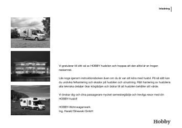 Vi gratulerar till ditt val av HOBBY husbilen och ... - Hobby Caravan