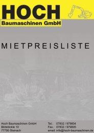 M I E T P R E I S L I S T E - hoch-baumaschinen.de