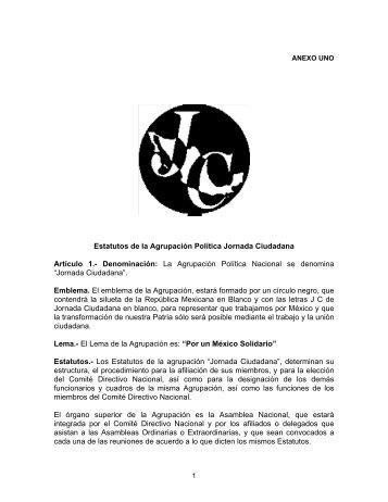 Estatutos de la Agrupación Política Jornada Ciudadana Artículo 1 ...