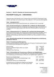 Ergebnisse zur GV 2012 - Hochdorf Nutritec AG