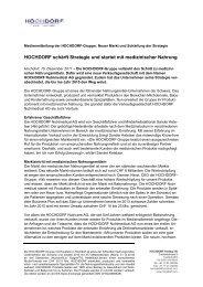 HOCHDORF schärft Strategie und - Hochdorf Nutritec AG