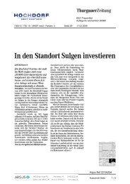 In den Standort Sulgen investieren - Hochdorf Nutritec AG