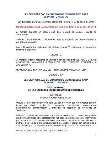 LEY DE PROPIEDAD EN CONDOMINIO DE INMUEBLES ... - PAOT