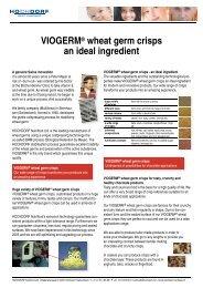 VIOGERM® wheat germ crisps an ideal ingredient