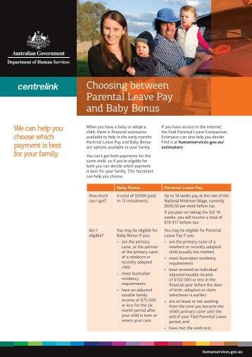 Choosing between Parental Leave Pay and Baby Bonus factsheet