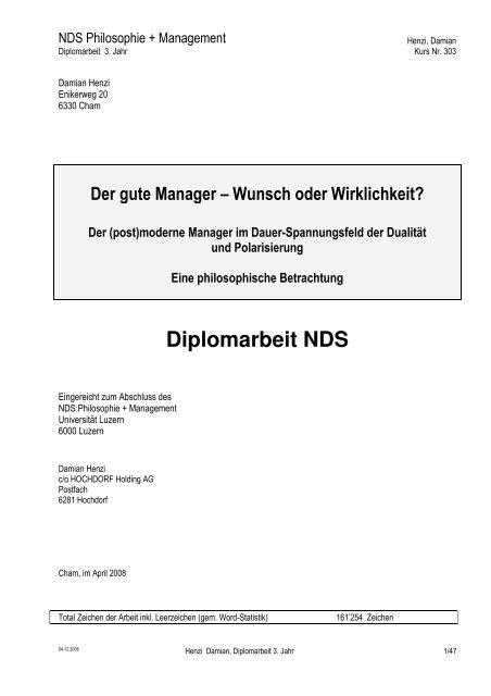 Der gute Manager - Wunsch oder Wirklichkeit - Hochdorf Nutritec AG