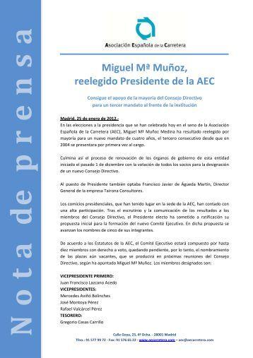 Miguel Mª Muñoz, reelegido Presidente de la AEC - Asociación ...