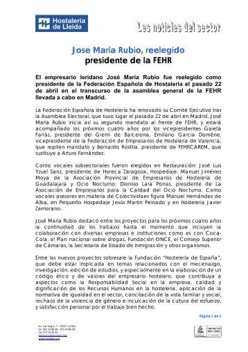 Jose Maria Rubio, reelegido presidente de la FEHR