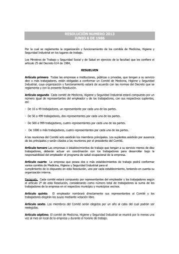 Resolucion 2013 de 1986 - COPASO