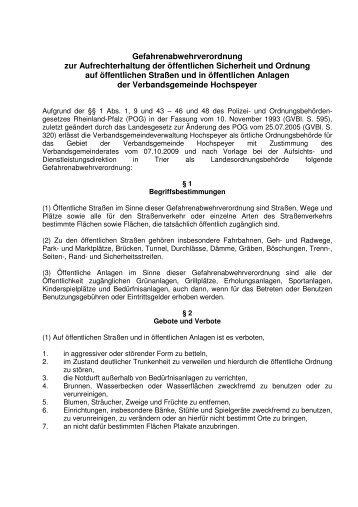 Gefahrenabwehrverordnung 2009 - Verbandsgemeinde Hochspeyer