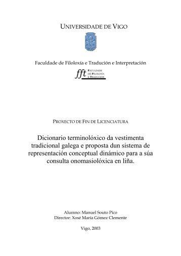 Dicionario terminolóxico da vestimenta tradicional galega e ...