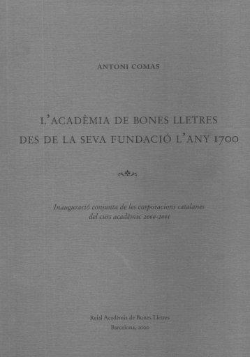 ANTONI COMAS - Reial Acadèmia de Bones Lletres