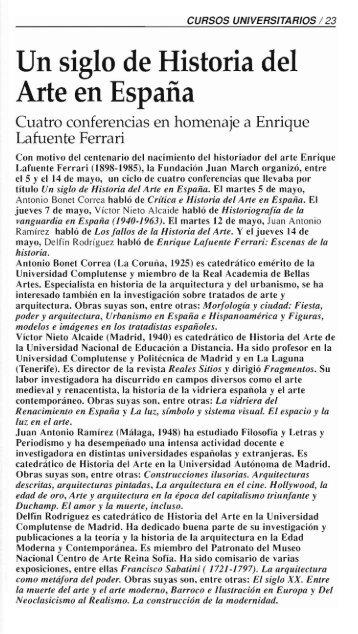 Un siglo de Historia del Arte en España - Fundación Juan March