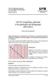 Lingüística aplicada a les patlologies del ... - Grup de Fonètica