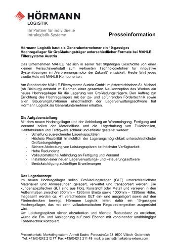 Presseinformation - Hörmann Logistik GmbH