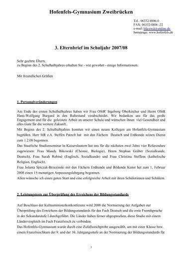 3. Elternbrief 2007/08 - Hofenfels Gymnasium