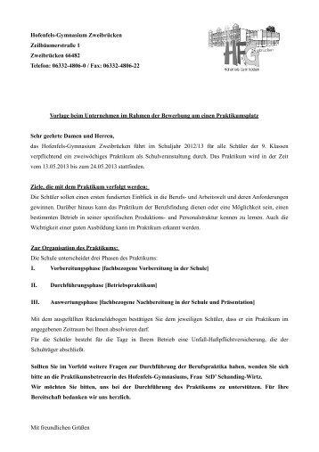Vorlage beim Betrieb - Hofenfels Gymnasium