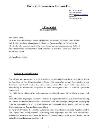 1. Elternbrief 2005/06 - Hofenfels Gymnasium