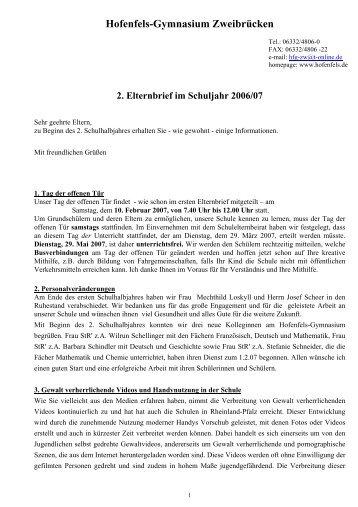 2. Elternbrief 2006/07 - Hofenfels Gymnasium