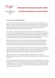 Nomination Schweizer des Jahres 2012 - Hofstetter Marketing