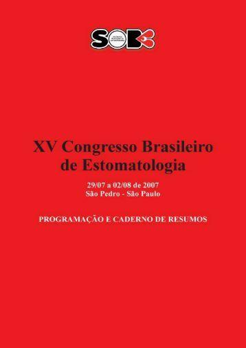 Caderno de Resumos (PDF) - Sociedade Brasileira de Estomatologia