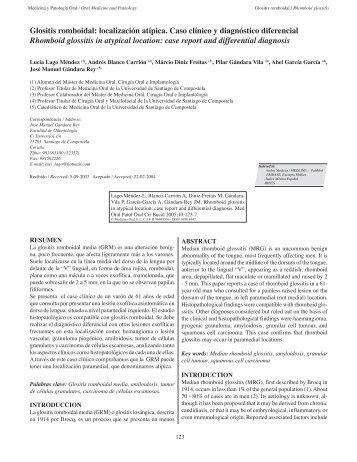 Glositis romboidal: localización atípica. Caso ... - SciELO España
