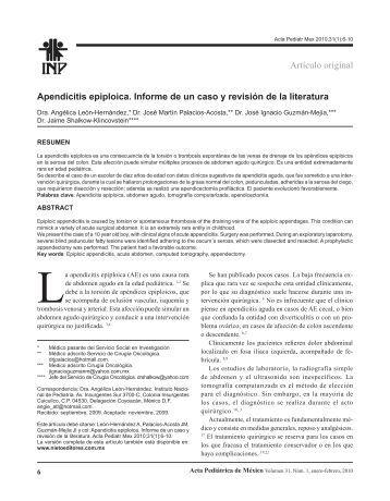 Artículo original Apendicitis epiploica. Informe de un caso y revisión ...