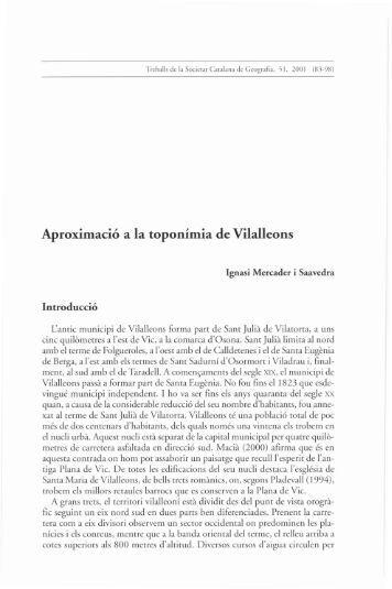Aproximació a la toponímia de Vilalleons - Portal de Publicacions