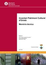 Memòria - Mapes de patrimoni cultural - Diputació de Barcelona