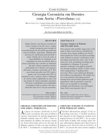 Cirurgia Coronária em Doentes com Aorta «Porcelana»[54]