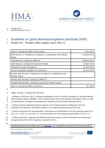 Guideline on good pharmacovigilance practices (GVP)