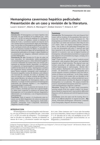 Hemangioma cavernoso hepático pediculado ... - revista rard