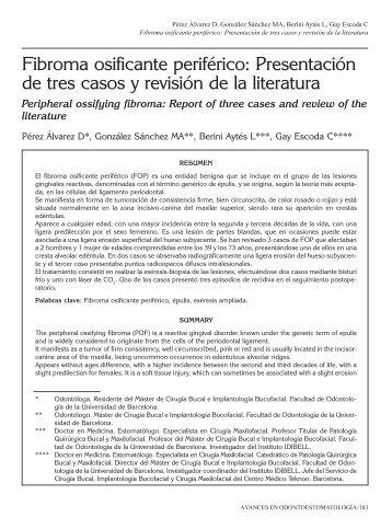 Fibroma osificante periférico: Presentación de tres ... - SciELO España