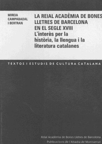 LA REIAL ACADEMIA DE BONEI LLETRES DE BARCELONA EN ...